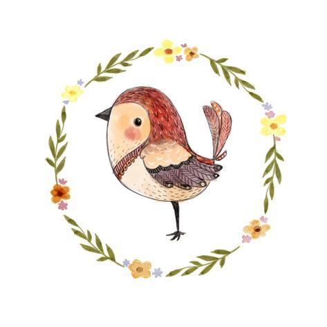 473x473 Cute Watercolor Bird With Floral Wreath. Funny Kids Illustration