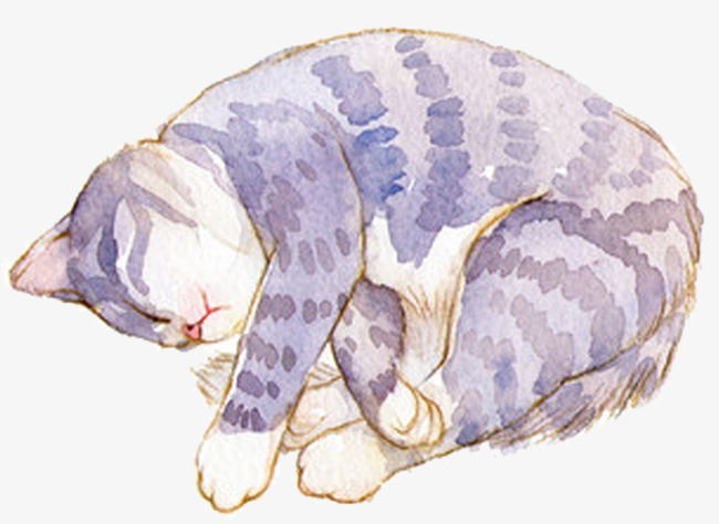 650x474 Cute Watercolor Cat Shape, Cute Clipart, Watercolor Clipart, Cat