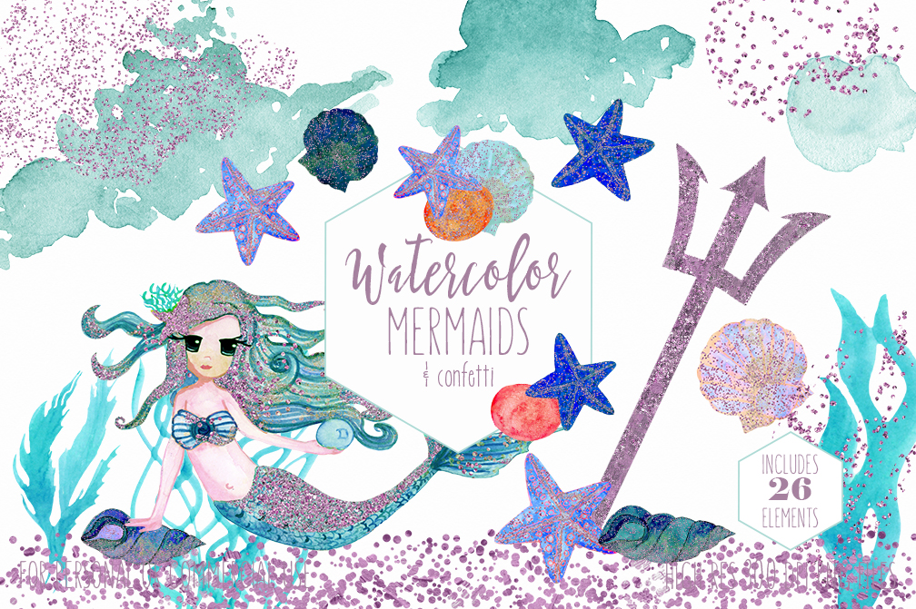 1008x671 Cute Watercolor Mermaids Amp Glitter By Clipartbrat