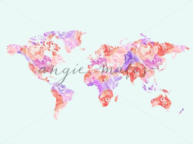 623x463 Cute World Map Printable Watercolor Art. Watercolor Map