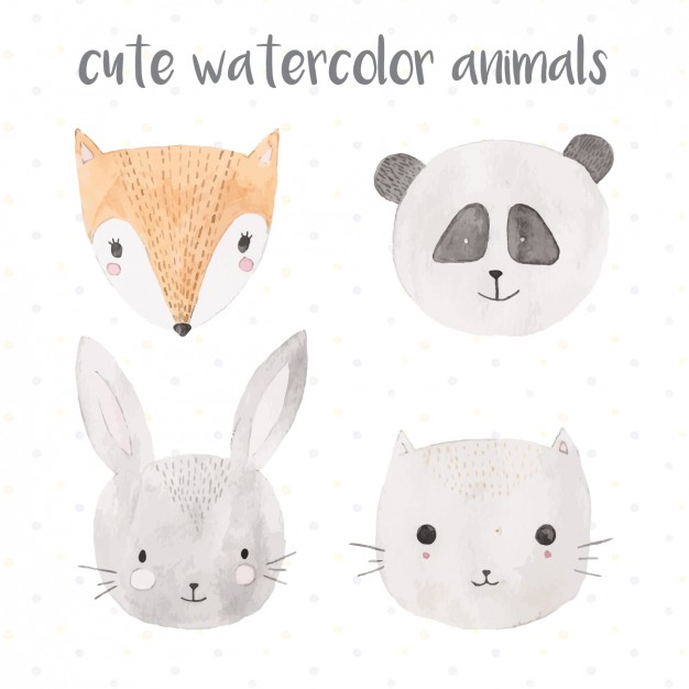 626x626 Cute Watercolor Animals Vector Free Download