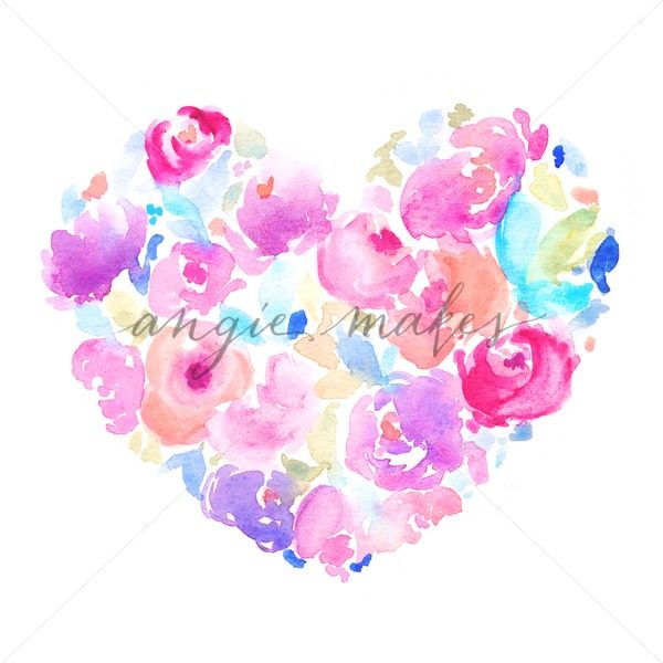 600x600 Adorable Watercolor Heart Made Of Flowers. This Digital Download