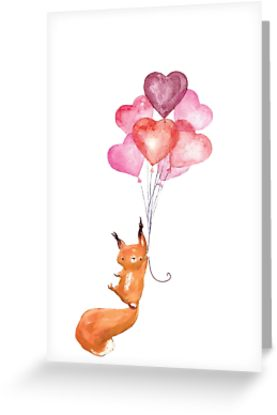 277x415 Cute Watercolor Squirrel Flying With Heart Balloons Greeting
