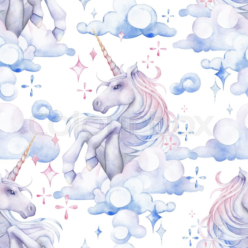 800x800 Cute Watercolor Unicorn In The Sky. Fantasy Art In Pastel Colors