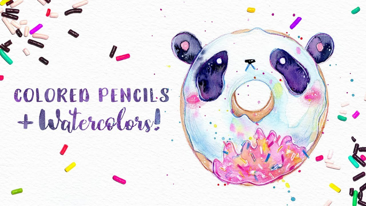 1280x720 How To Use Colored Pencils With Watercolor Cute Panda Doughnut