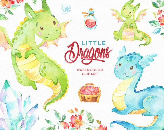 570x453 Little Dragons. Watercolor Magical Clip Art Characters Cute Etsy