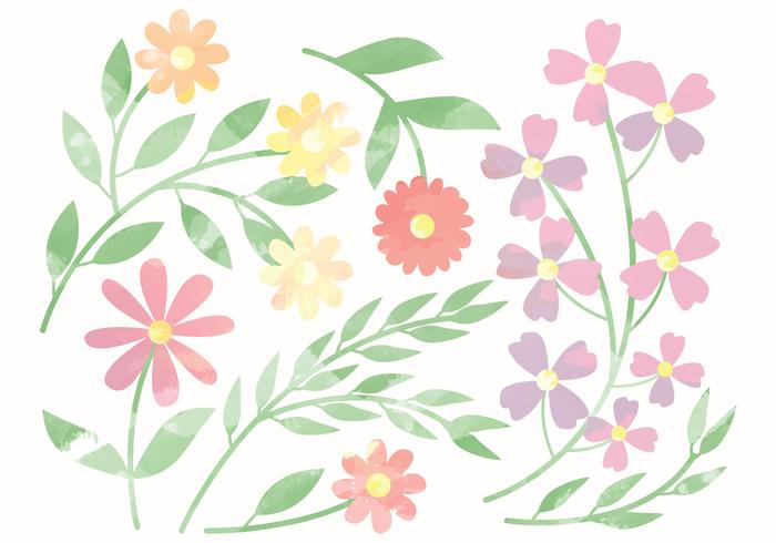 700x490 Vector Cute Watercolor Flower Elements