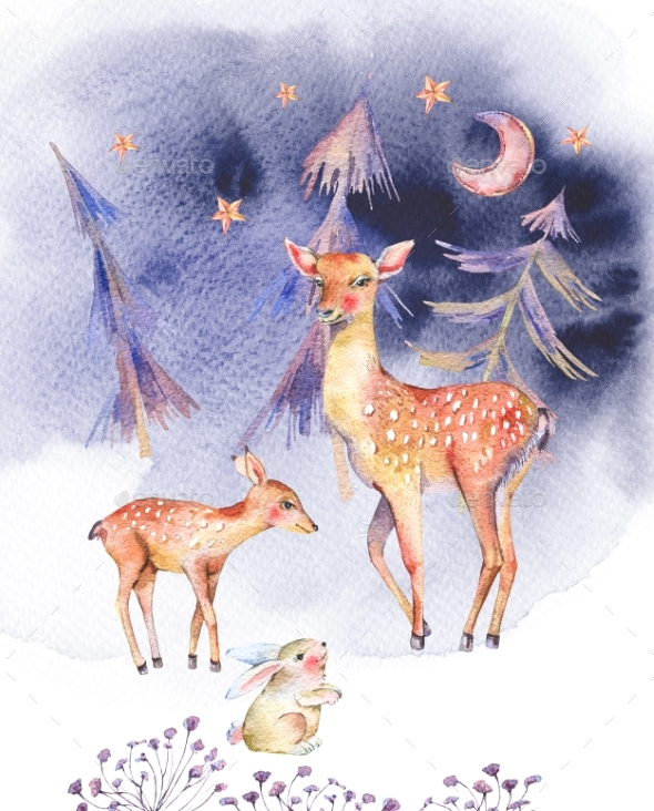 590x732 Watercolor Card With Cute Deer And Fawn By Depiano Graphicriver