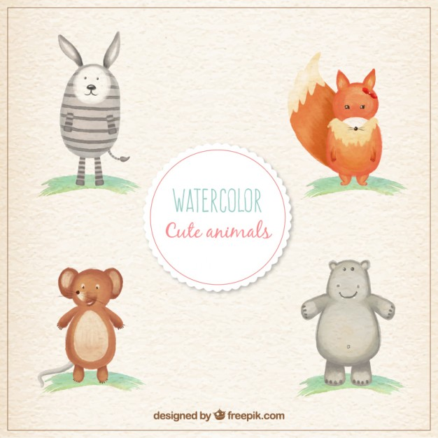 626x626 Watercolor Cute Animals Vector Free Download