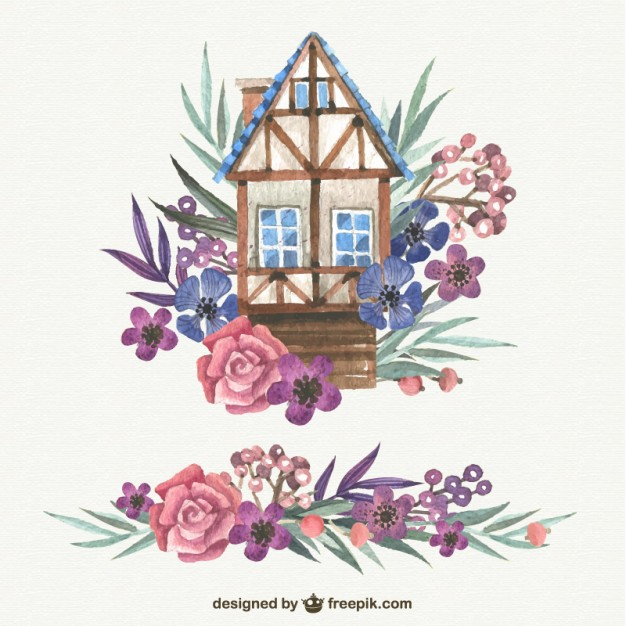 626x626 Watercolor Cute House With Flowers Vector Free Download