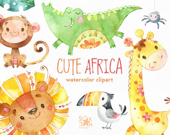 570x453 Cute Africa. Watercolor Animals Clipart Lion Giraffe Etsy
