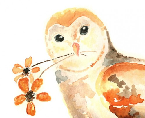 500x406 Cute Owl Art, Owl Watercolor, Owl Decor