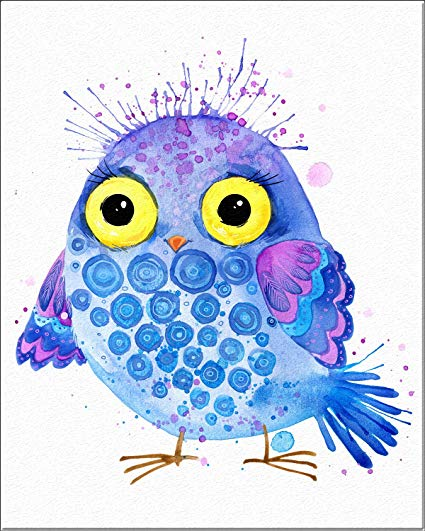 425x531 7dots Art. Cute Owls. Watercolor Art Print, Poster 8