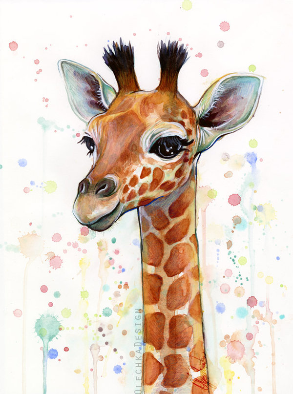 600x807 Baby Giraffe Watercolor Painting, Cute Animals By Olechka01 On