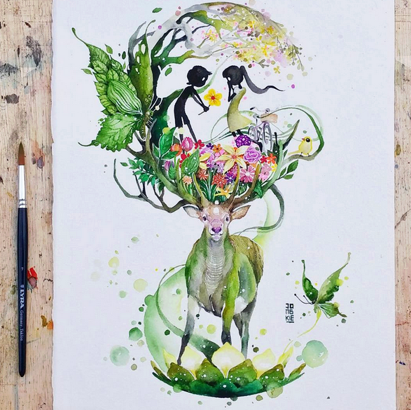 587x585 Gorgeous Watercolor Paintings By Luqman Reza Mulyono 99inspiration