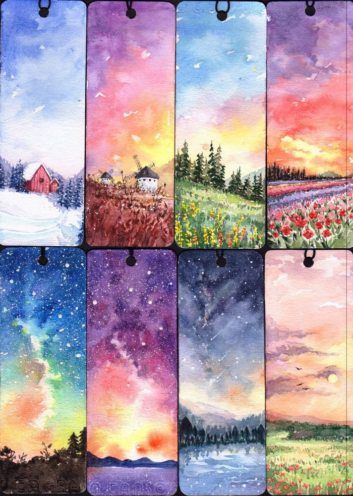 700x983 Watercolor Scenery Bookmarks. Pretty Painting Painting