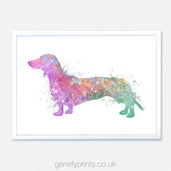600x600 Dachshund Dog Watercolor Art Print [Style 1]