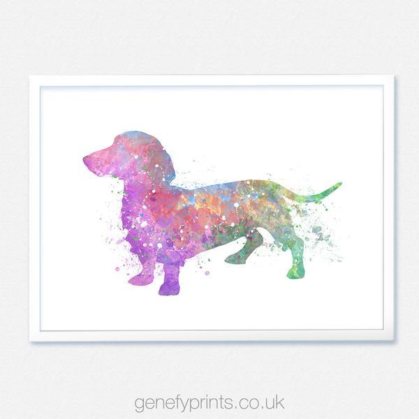 600x600 Dachshund Dog Watercolor Art Print [Style 2]