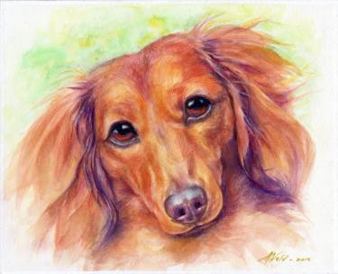 375x304 Dachshund Original Watercolor Painting Painting By Alex Vald