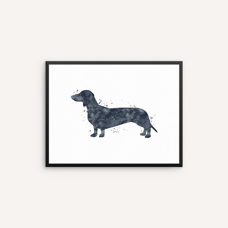 750x750 Dachshund Watercolor Art Print, Wiener Dog Watercolor Wall Art