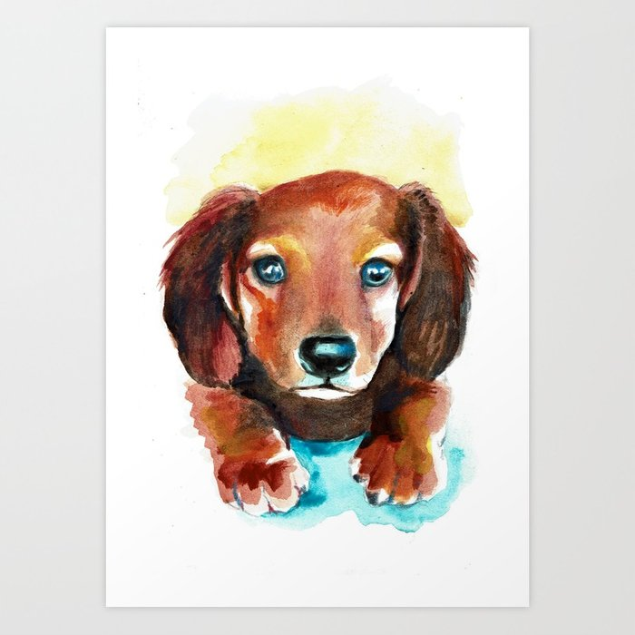 700x700 Dachshund Watercolor Painting Art Art Print By Sonjafunnell Society6