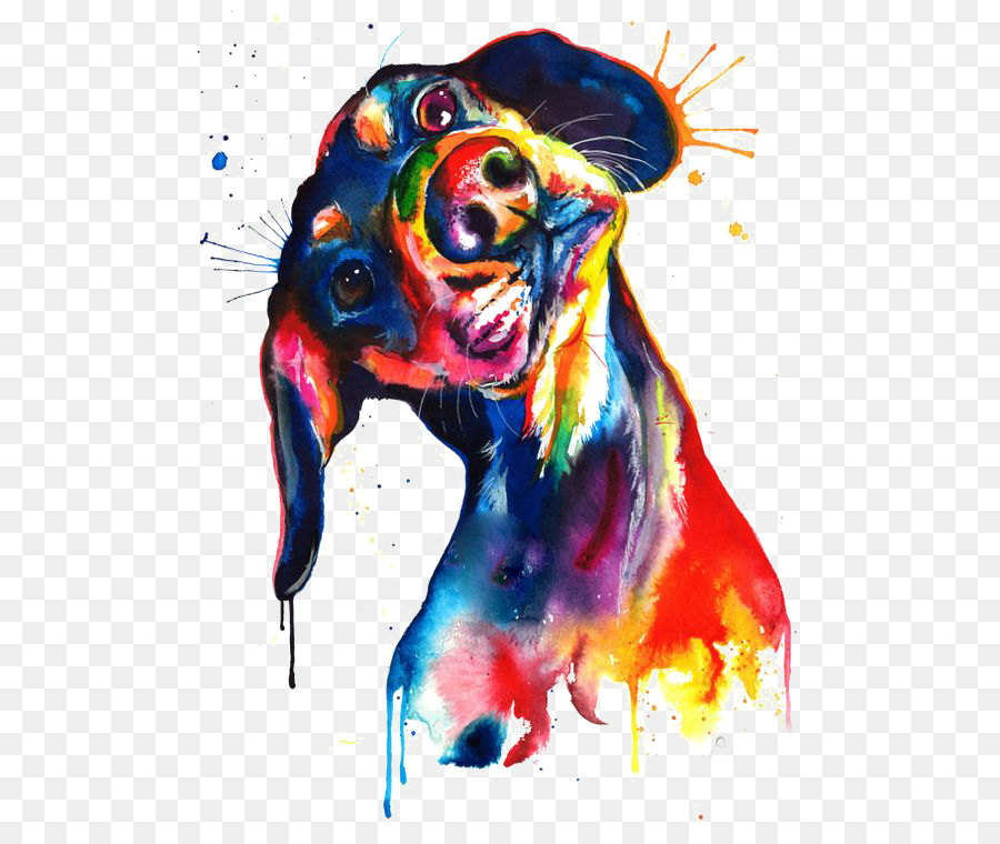 900x760 Dachshund Watercolor Painting Canvas Print