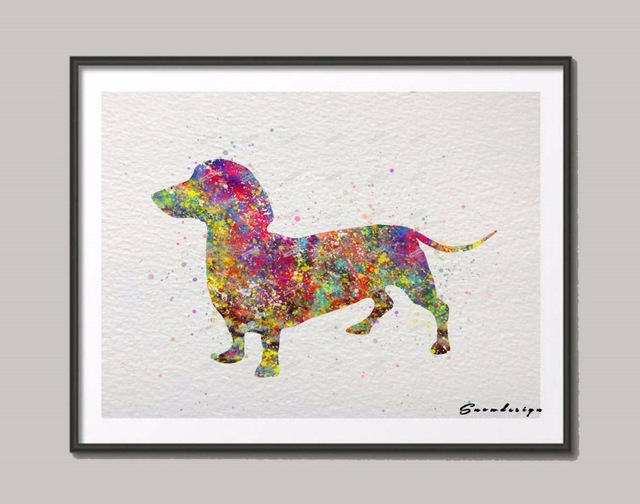 640x504 Dachshund Dog Original Watercolor Canvas Painting Wall Art Dog