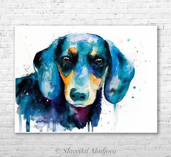 570x524 Dachshund Watercolor Painting Print By Slaveika Aladjova Etsy