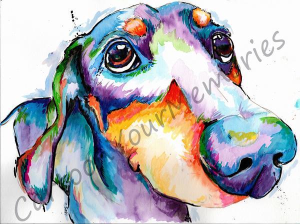 600x448 Dachshund Watercolor Print Cartoon Your Memories