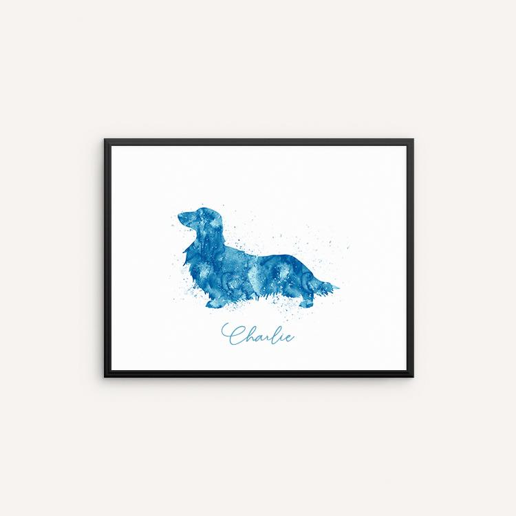 750x750 Long Haired Dachshund Watercolor Art Print, Wiener Dog Watercolor