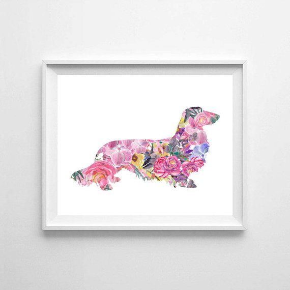 570x570 Long Haired Dachshund Watercolor Dog Watercolor Dachshund