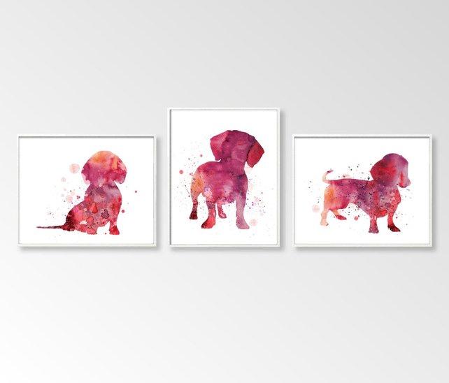 642x548 Set Of 3 Dachshund Dachshund Watercolor Dachshund Art Etsy