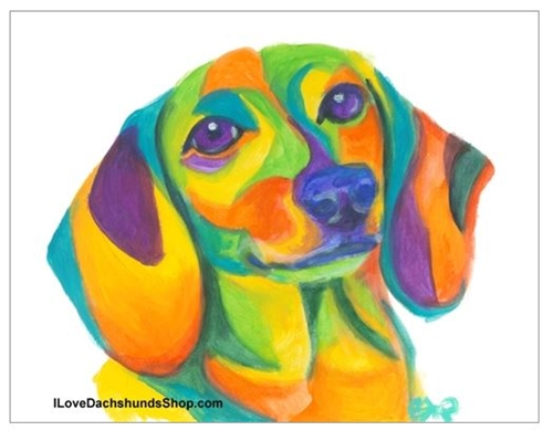 500x399 Colorful Dachshund Watercolor Print