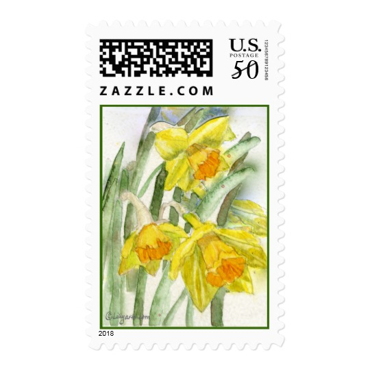 540x540 Daffodil Watercolor Art Postage Stamps