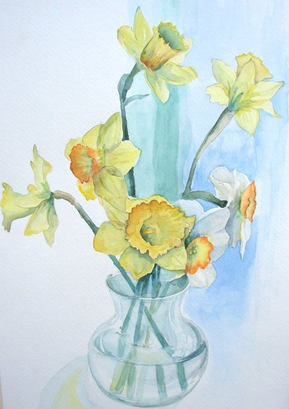 570x806 Daffodil Watercolor Print Yellow And Green 9 X Etsy