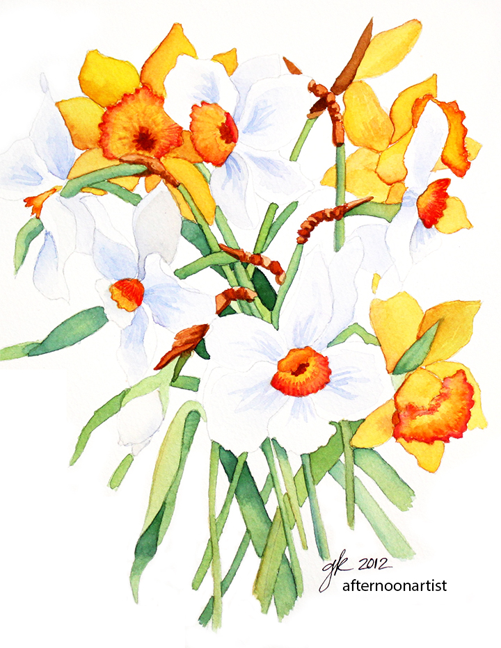 720x932 Daffodils In Watercolor Afternoon Artist