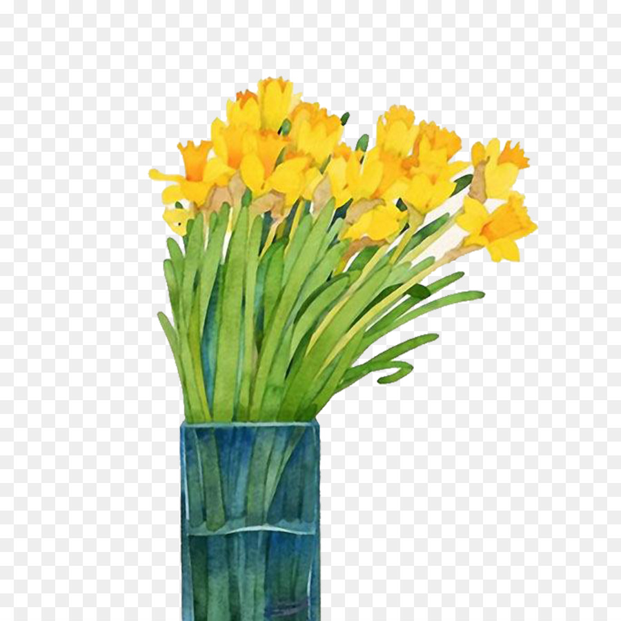 900x900 Narcissus Watercolor Painting Daffodil
