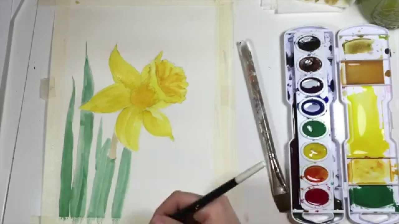 1280x720 Watercolor Daffodil Tutorial