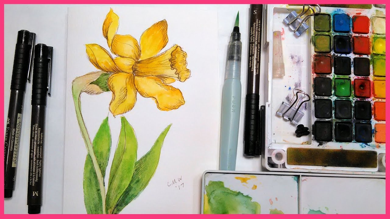 1280x720 Daffodil Pen Amp Inkwatercolor Tutorial Real Time For Beginners