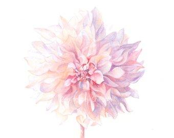340x270 Dahlia Watercolor Painting Original Watercolor Watercolor Etsy