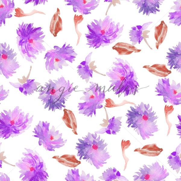 600x600 Purple Seamless Dahlia Watercolor Flower Pattern