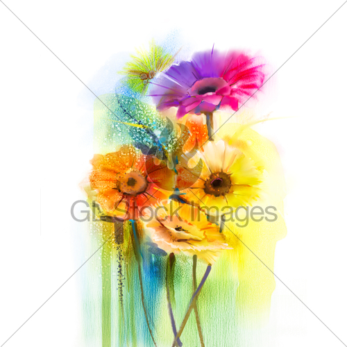 500x500 Abstract Flowers Watercolor Painting Daisy Gerbera Flowers Gl