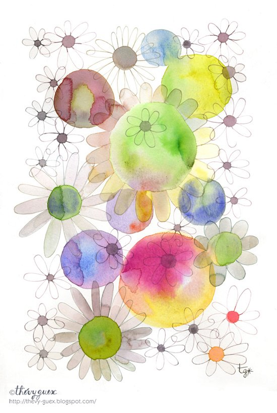 550x820 Flower Poster, Daisy Flower Watercolor Illustration, Flower And