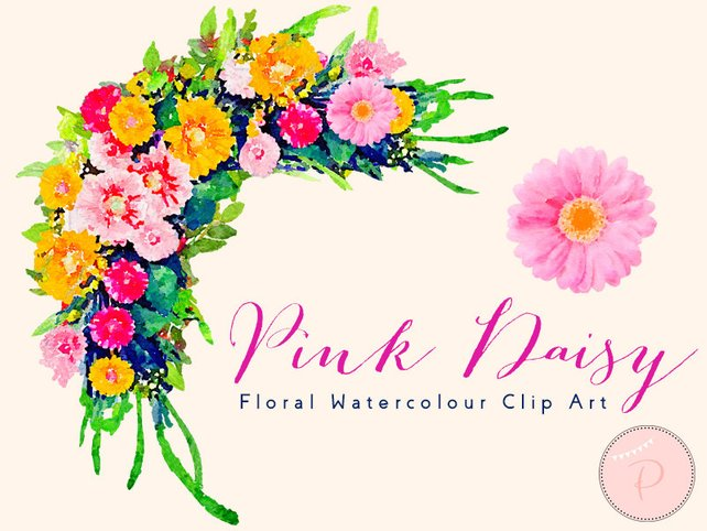 642x482 Pink Daisy Flower Aster Floral Frame Clip Art Watercolor Etsy