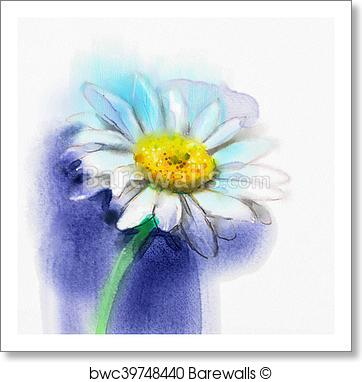 362x382 Art Print Of Abstract Watercolor Painting White Gerbera, Daisy