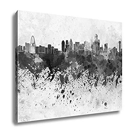 425x444 Ashley Canvas Dallas Skyline In Watercolor, Wall Art