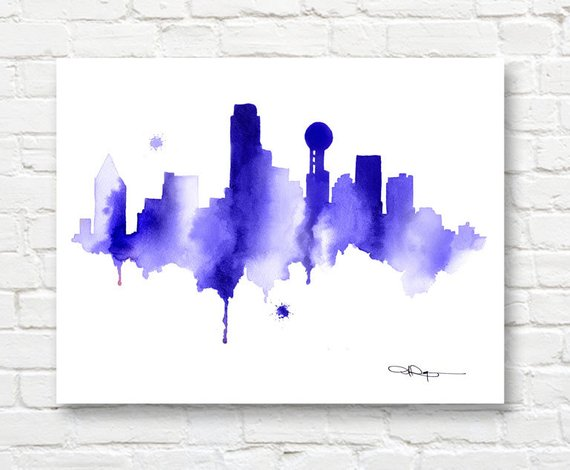 570x470 Dallas Skyline Abstract Watercolor Art Print Wall Decor Etsy