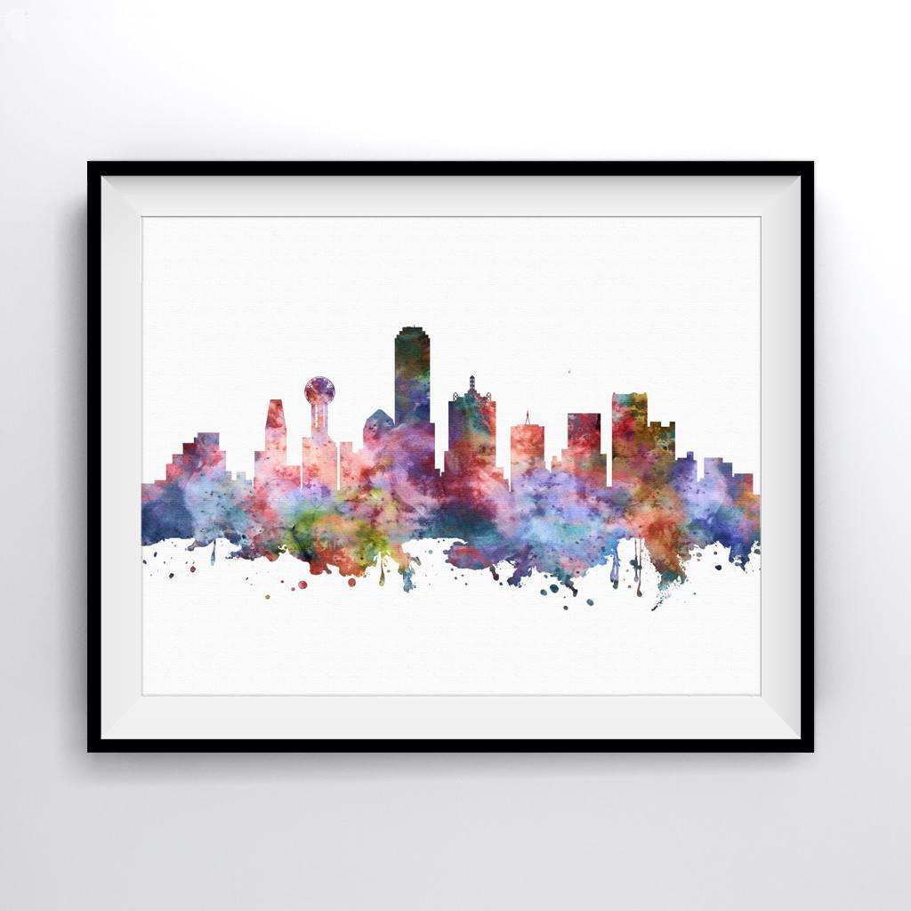 1024x1024 Dallas Skyline Art Print Poster