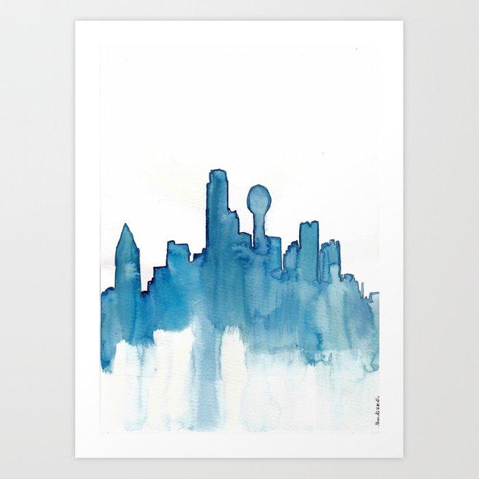 700x700 Dallas Skyline Blue Watercolor Art Print By Shaydakw Society6