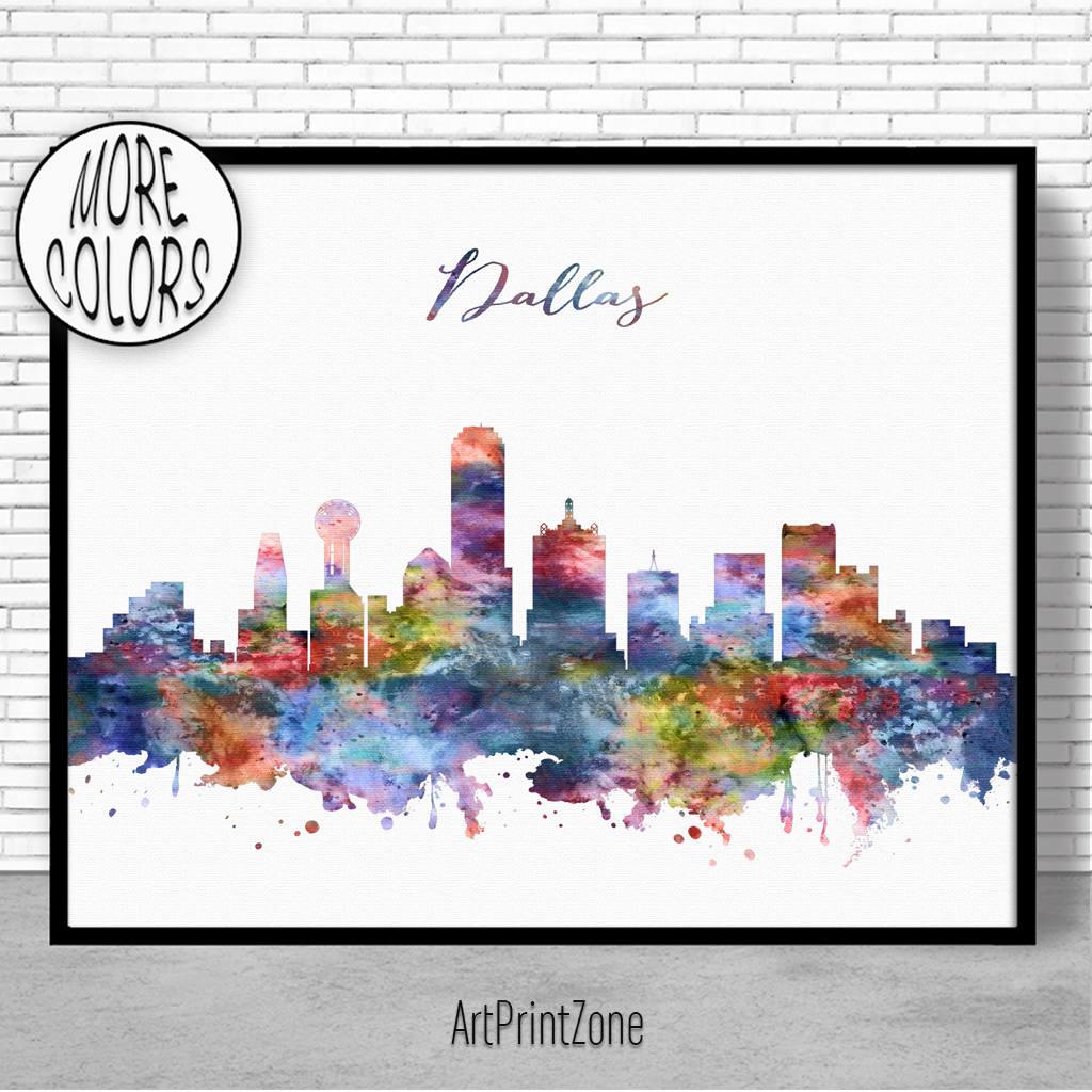 1024x1024 Dallas Skyline Dallas Print Dallas Texas Office Decor Travel Art